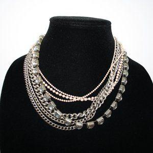 Vintagejelyfish Jewelry - Silver and cream rhinestone boho style necklace 17
